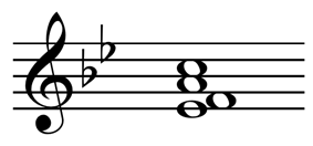 Third inversion F major chord: E-flat,F,A,C.