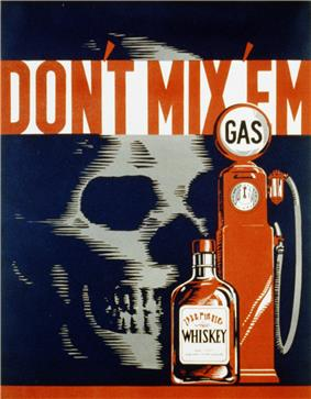 An illustration in black, red and white showing a skull on the left, small bottle of liquor in the center and old-fashioned gasoline pump on the right with the caption