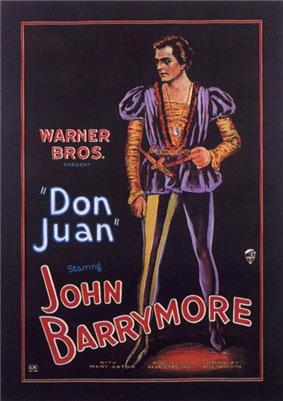 Illustration of a man dressed in an orange-and-purple Elizabethan costume with puffy shoulders and sheer leggings. Accompanying text provides film credits, dominated by the name of star John Barrymore.