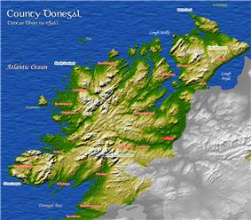 Map of County Donegal showing mountainous regions and lowlands adjacent to the water.
