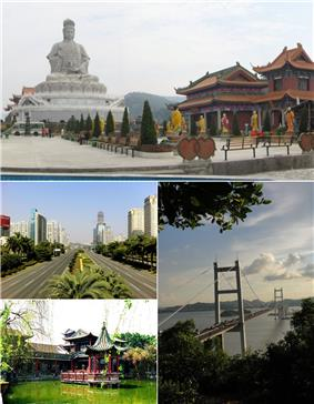 From top left, clockwise: Guanyin mountain, Humen Bridge, Keyuan, Dongguan Avenue