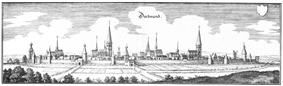 Kupferstich Matthäus Merians der Stadt Dortmund von 1647