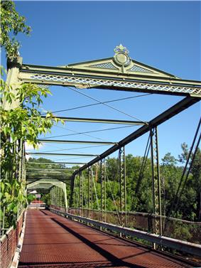 Double-Span Metal Pratt Truss Bridge