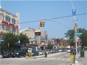 Looking east along Brighton Beach Avenue from the corner of Coney Island Avenue