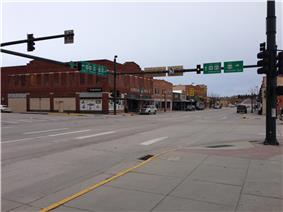 Downtown. Intersection of US Highways 18, 20, and 85.