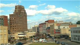 A view of downtown from the third floor of Meridian City Hall; the 16-story    Threefoot Building dominates the skyline