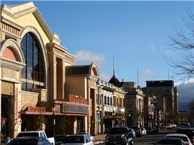 Historic Main Street in downtown Salinas, including Maya Cinemas.