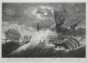 An engraving in which two damaged ships are pulling away from land in high seas while in the foreground a third ship, also damaged, is overwhelmed by a huge wave.