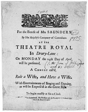 Sheet of paper advertising the performance of a comedy at the Theatre Royal, Drury Lane, inscribed: