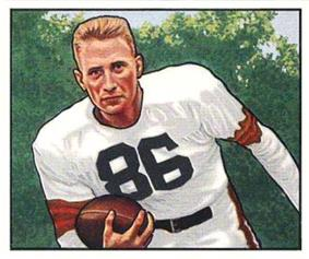 Dub Jones running with a football, as pictured on a 1950 Bowman card
