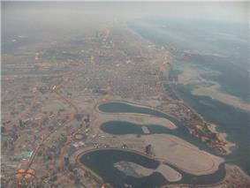 Aerial view of Al Mamzar (center-right)
