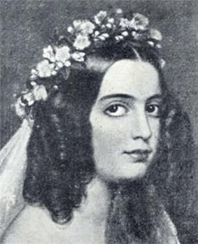 Black and white copy of a painted portrait showing the head and shoulders of a woman with dark, curled hair, large eyes and wearing a circlet of flowers and veil on her head