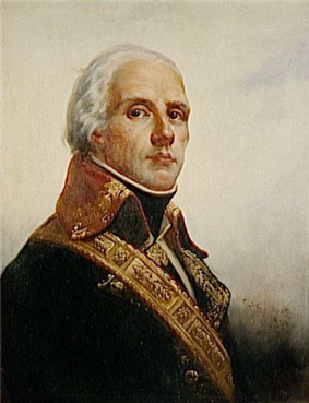 Painting of a white-haired man in a dark military coat with gold trim on the lapels and high collar.