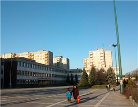 Városháza Square with typical concrete block of flats called Panelház