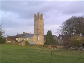 Yellow stone church tower above other buildings of the same stone.In the foreground is a grassy field with cows.