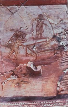 An ancient wall painting depicting Jesus