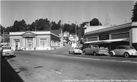 The corner of Throckmorton Ave. and Corte Madera Ave. c. 1970.
