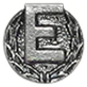 Silver letter E with wreath