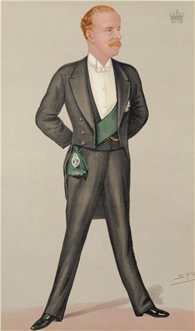 A man with blond hair and a moustache, wearing an elegant white-tie tuxedo, replete with a green sash worn beneath the jacket.