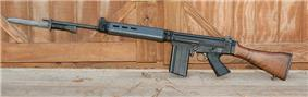 An FN FAL battle rifle with a wooden stock.