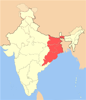 Location of East India