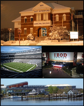 Top, left to right: East Rutherford Municipal Building, MetLife Stadium, Izod Center, Meadowlands Sports Complex