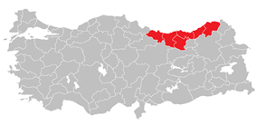 Location of East Black Sea Region