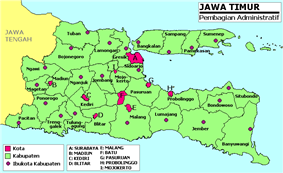 Regencies in East Java