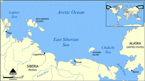 Map showing the East Siberian Sea.