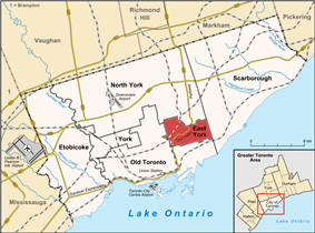 Location of East York (red) compared to the rest of Toronto.