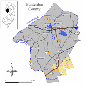 Map of East Amwell Township in Hunterdon County. Inset: Location of Hunterdon County in the State of New Jersey.