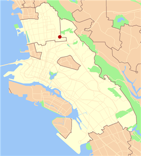 Location of Claremont in the cities of Oakland and Berkeley