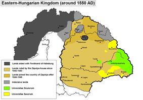 Yellow map of Transylvania in 1550