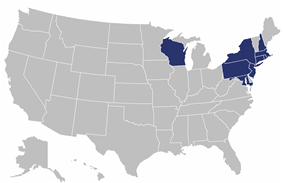 Map of states where participating institutions are located