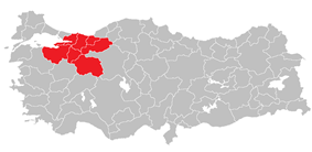 Location of East Marmara Region