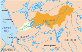 Map of the Eastmain watershed