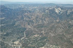 Aerial view of Altadena and Eaton Canyon