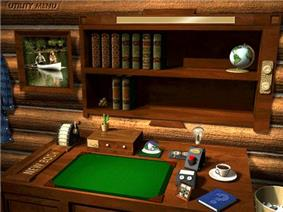 A virtual wooden desk, bookshelf, cup of coffee and other items