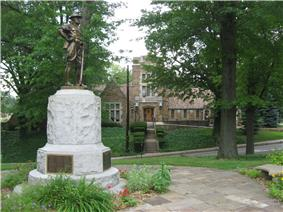Edgewood's municipal building with its World War I memorial in the foreground