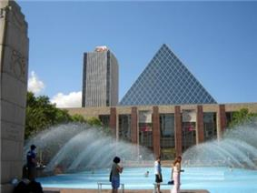 Edmonton City Hall with the CN Tower behind and the Cenotaph to the left.
