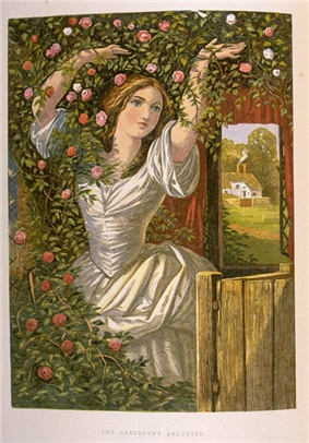 young woman with upraised arms dressed in white gown under a bower with an open garden gate showing a farm in the background
