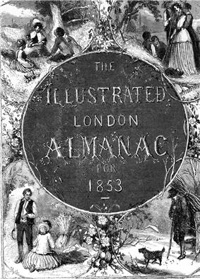 Twig shaped lettering in a center medallion, bottom left shows a man and woman in a harvested field, top left shows three young people picnicing in a field, top right shows two women, a man and two children beneath a tree, bottom right shows a man carrying a bundle of wood with a dog in a snowstorm