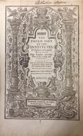 Third Part of the Institutes of the Laws of England (1st ed., 1644, title page)