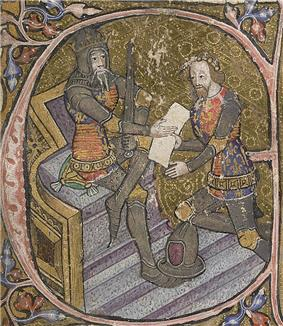 14th century manuscript initial depicting Edward III of England (seated) and his son the Black Prince (kneeling)