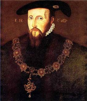 Formal portrait of the Duke of Somerset. He has a long thin face with a goatee beard and moustache of long fine straight reddish hair. His expression is wary. He wears his collar of the Order of the Garter.