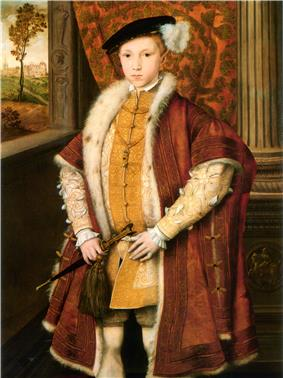 Painting of Edward at 9 years. Both the pose of the prince and his dress imitate portraits of Henry VIII. The child wears a broad-shouldered mantle of dark velvet over his clothes which are ornately embroidered in gold thread. He wears a prominent cod-piece and carries a dagger. His short red hair can be seen beneath his cap, contrasting with dark eyes. He looks well and robust.
