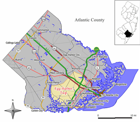 Map of Egg Harbor Township in Atlantic County. Inset: Location of Atlantic County highlighted in the State of New Jersey.