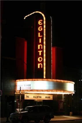 Exterior view of the Eglinton Theatre at night