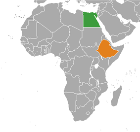 Map indicating locations of Egypt and Ethiopia
