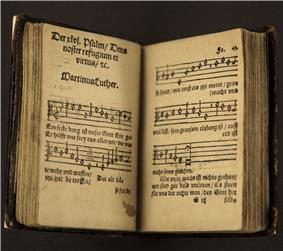second edition hymnal by Martin Luther, showing
